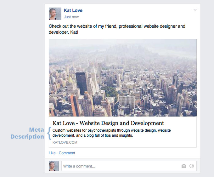 Meta description as seen on Facebook