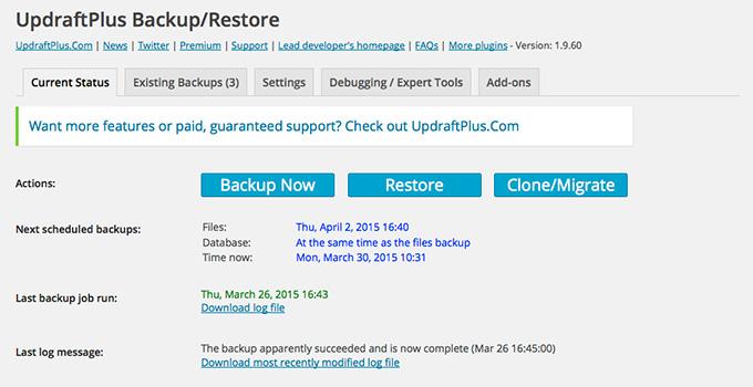 Updraft backup screenshot