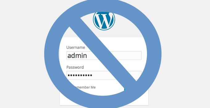 Don't use admin as your WordPress username
