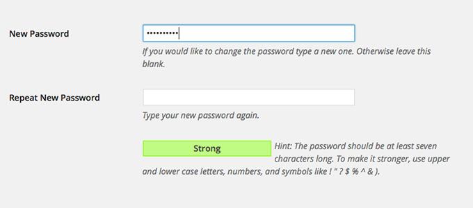 WordPress Password Strength