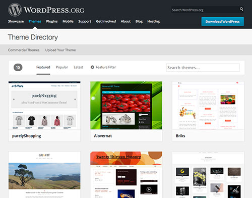 Screenshot of WordPress Theme Directory