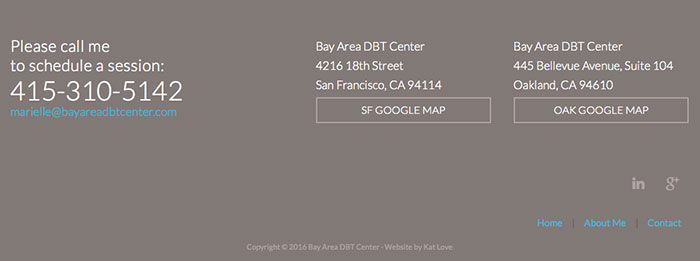 On the Bay Area DBT Center website, the icons are in the footer in a color that fits into the design but still makes them visible enough for those looking.